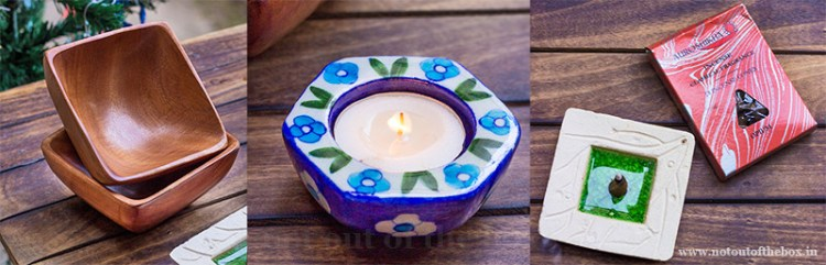 The Arte Collections 'CoffeeTable Set Up' collection- Wooden bowls, Blue pottery tea light candle holder with two 2 candles, Auroshikha square incense cone holder, along with a pack of Auroshikha incense cones