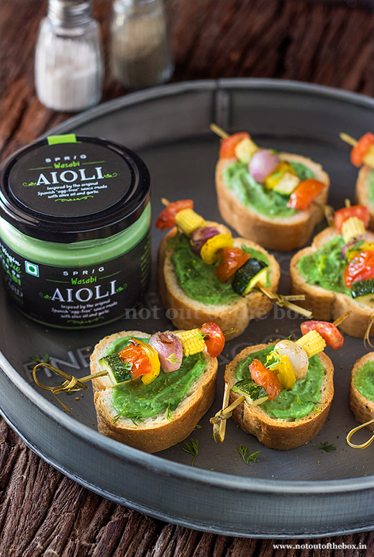 Aioli Bruschetta with Grilled Vegetable Skewers