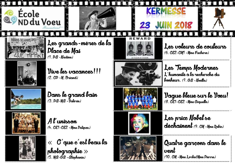 Programme Kermesse NDVoeu - 23 juin 18