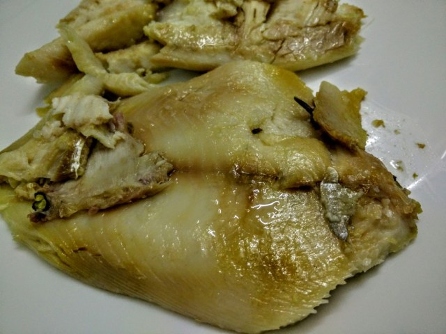 Fish flaked: cooked to perfection--moist, flaky and  flavoured delicately.