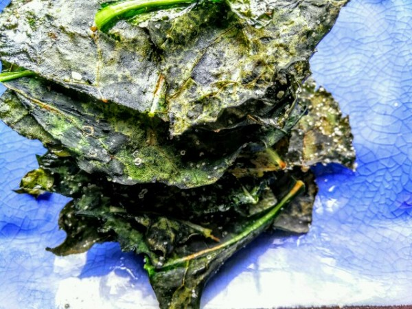 Home made baked kale crisps