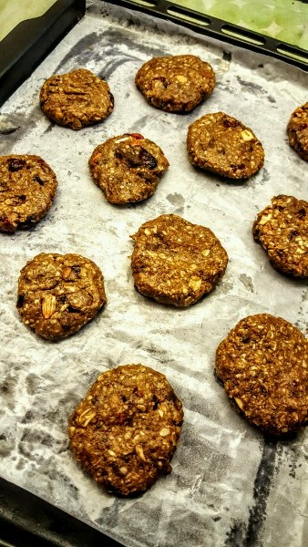 All ready to be baked! The Sugar-free cranberry, oats, chocolate, almond cookie