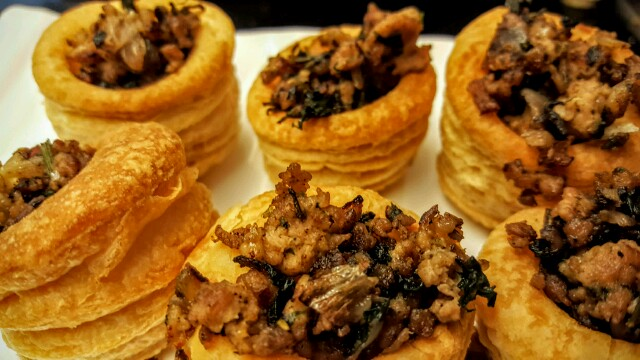Chicken mince filled puff pastry