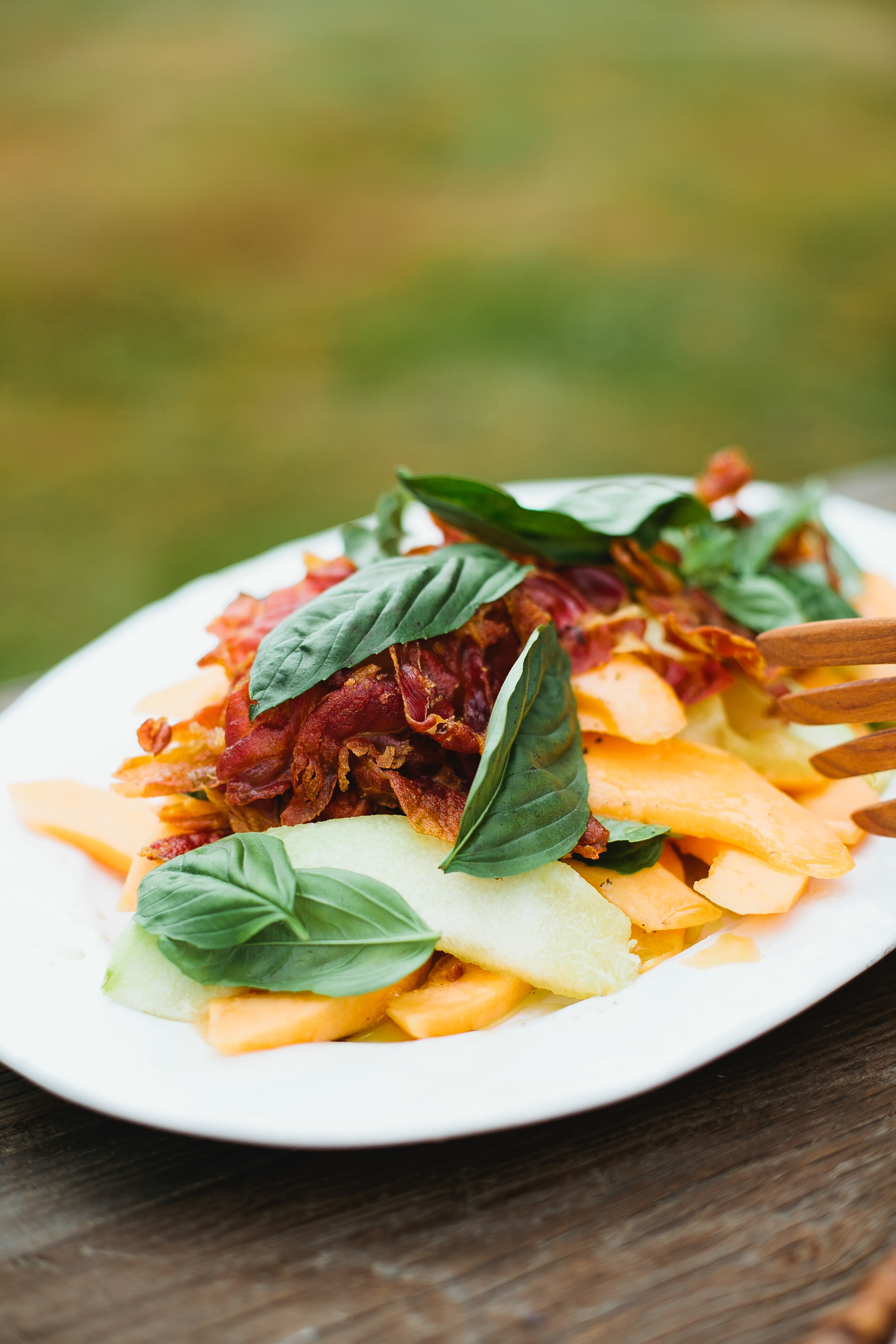 Tuscan Melon Salad with Basil Vinaigrette and Crispy Prosciutto - Not ...
