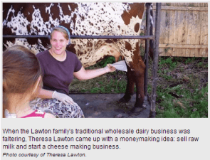 Theresa Lawton raw milk dairy in Massachusetts