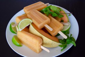 Cantaloupe Lime Mint Ice Pops