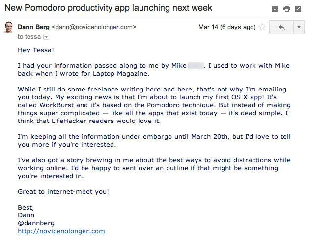 LifeHacker WorkBurst pitch email