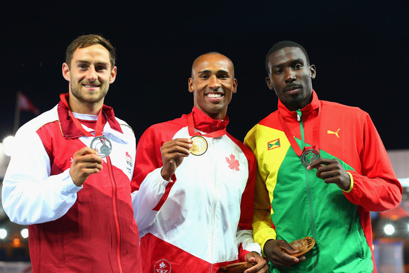 Kurt Felix of Grenada (right) bronze medal  8070 points Gold medalist Damian Warner of Canada (Center) 8282 points Silver medalist Ashley Bryant of England (Left) 8109 points