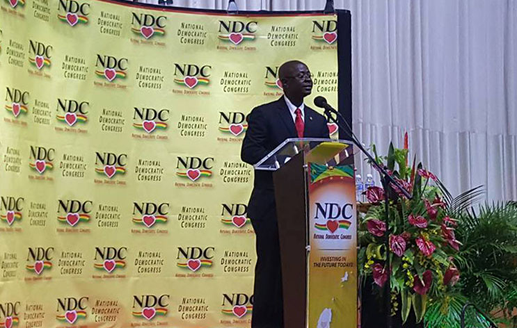 Opposition Party Leader, V Nazim Burker, delivering feature address at the Launch of the NDC Policy Agenda, Grenada Trade Centre