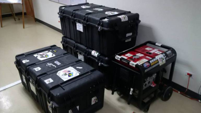 CDEMA's battle boxes with equipment and field supplies for the CARICOM Disaster Relief Unit (CDRU)