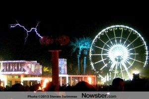 Coachella Music Festival at Night: Tesla Coil & Ferris Wheel