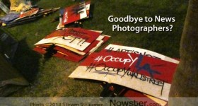 Goodbye to News Photographers over Photo of Occupy LA Signs