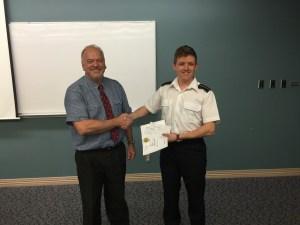 2015 First Year Achievement Award winner, Cadet Andrew Lehman