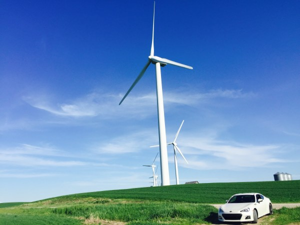 Chrystina has a fascination with wind turbines so I took her up close
