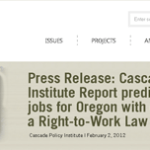 Cascade Policy Institute Report predicts over 100,000 jobs for Oregon with enactment of a Right-to-Work law
