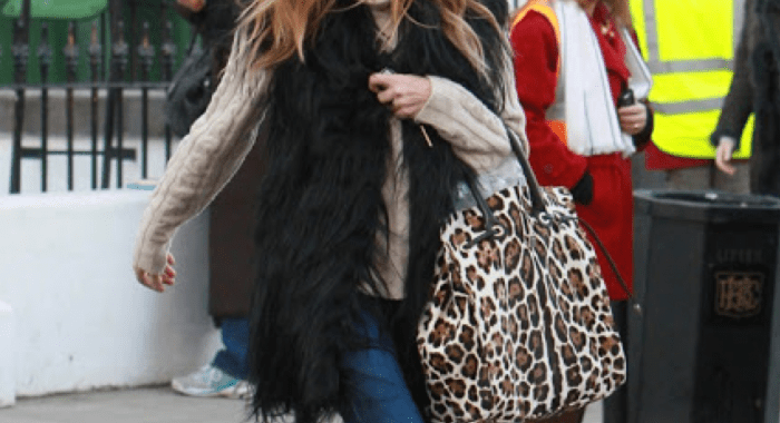 faux fur vest - celebrity style - winter 2014 - how to wear - what to wear with fur vest