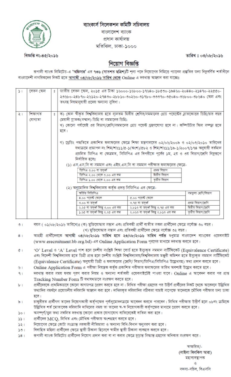 Rupali Bank Officer Written Result