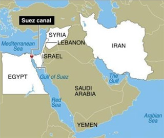 map showing suez canal