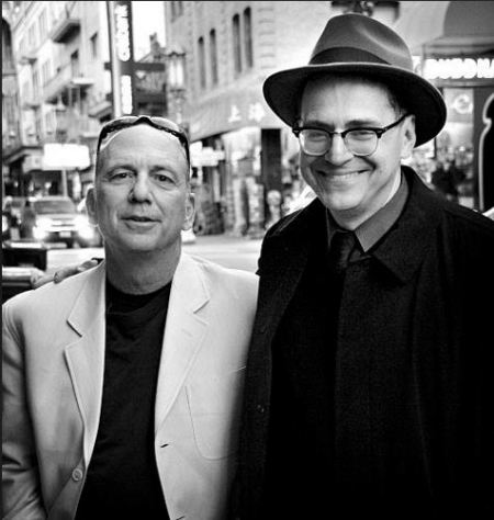 Author Domenic Stansberry (left) with Peter Maravelis of City Lights Bookstore.  Photo by Mark Coggins. (2)