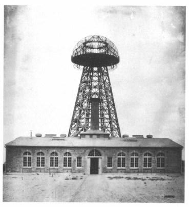 Wardenclyffe Tower, Shoreham, Long Island, NY, 1911. Early wireless tower designed by Nikola Tesla. (Popular Electricity magazine/Wikipedia)