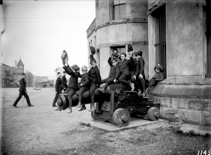 Boys on a gun, Beatty Street. VPL_6871