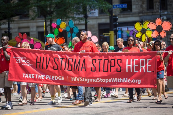 "Minnesota AIDS Project, ""HIV Stigma Stops Here."" 2013 Twin Cities Pride Parade, Minneapolis, MN. (Tony Webster/Flickr 