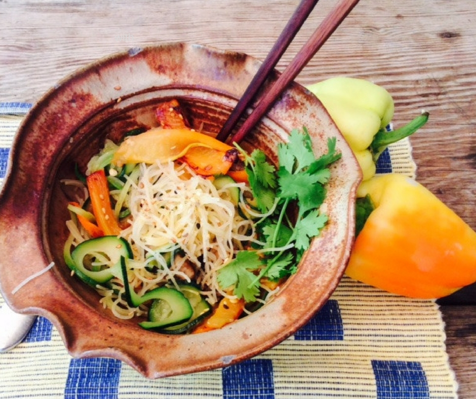 zucc mush pepp bowl with rice noodles FB