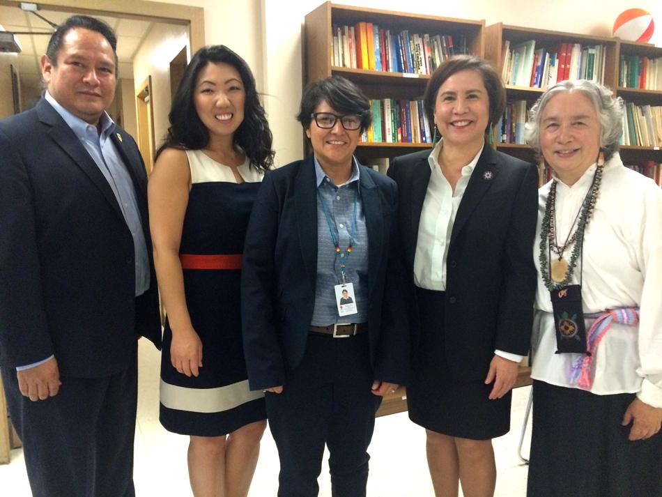 From left: Chris Stearns, Hyeok Kim, Esther Lucero, Debora Juarez, and Sharyne Shiu Thornton. (Photo by Assunta Ng/NWAW)