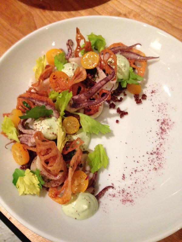 One of Chef's Tsao's creations: tea-poached squid with crispy quinoa, jalapeno tarragon aioli, lotus root, and kumquat. (Photo by Rachel Johnson)