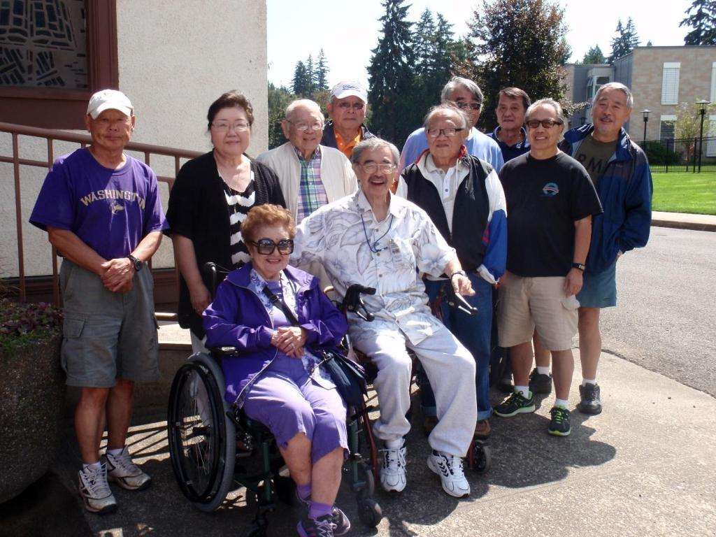 Summer 2015 BBQ hosted by the Washington Veterans Home. Back row (from left) Doug Chin, Fugami's aunt Teresa, uncle Mark, Rich Nakano, Eiji Arasuna, Tets Miyata, Jerry Fujimura, Paul Lee, and Mel Chinn. Sitting (from left) Fugami's mother, Florence Fugami, and Ken. (Art Chin is not pictured.) Photo from Jane McKinley-Chinn