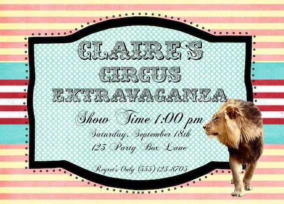 Circus Extravaganza Birthday Invite