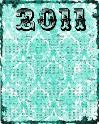 8x10 Graphic Calendar Damask 2011