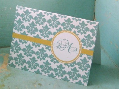 Damask  Script Monogram Cards - Set of 12