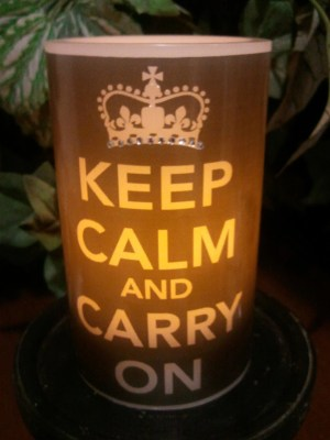 Keep Calm and Carry On Flameless Candle with Timer