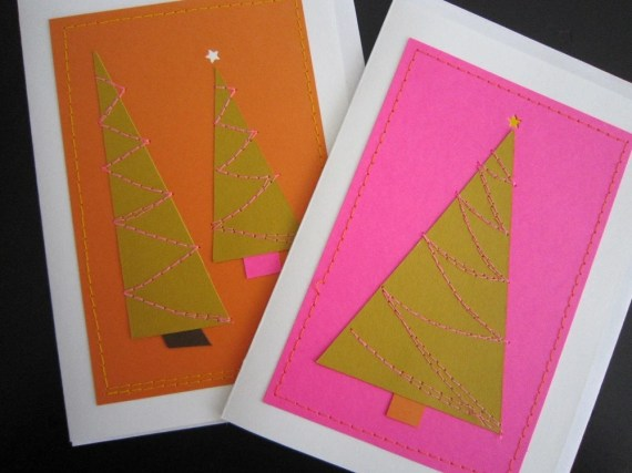 Winter Wonky Land Cards by pUnKrAwKpUrL.etsy.com