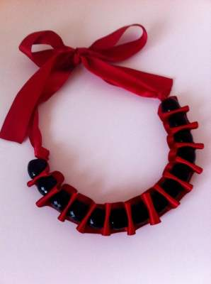 Fuschia and Black Ruffle Necklace