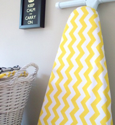 LAST ONE - Chevron Ironing Board Cover in Yellow and White