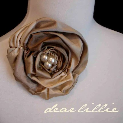 Silk and Pearl Rosette Clip - K