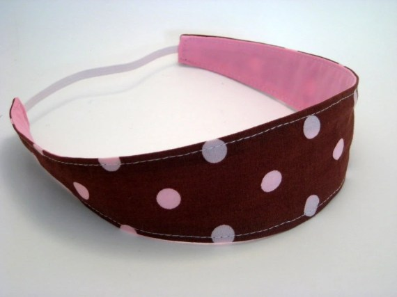 Brown and Pink Reversible Headband