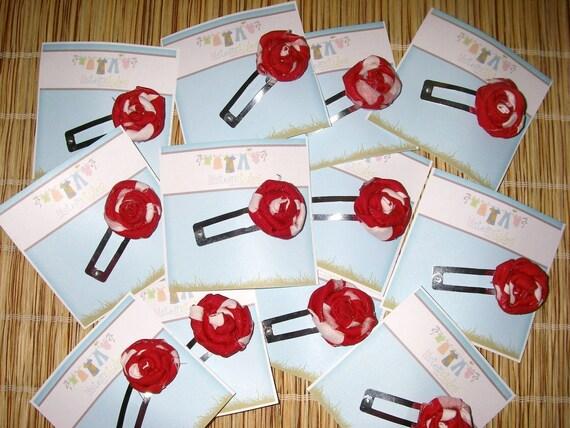 Cute little funky scrappy fabric red polka dot rosette clip