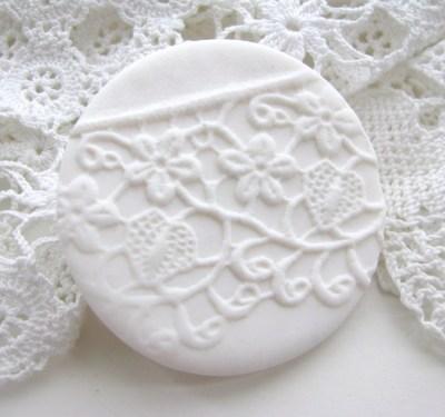 redstitchlab polymer clay lace brooch