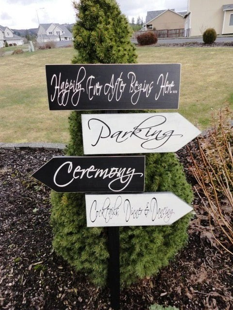 Wedding Signs Custom wedding directional sign and arrows, 6 X 18 in. for personalized sign and Damask Pattern 6 X 16 1/2 in. For Wedding, Ceremony, Reception,Party, Parking, Laughing or Cocktail Hour sign