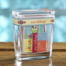 Kids Wee Tidings-12 mini note cards w/ envelopes packaged in a glass jar