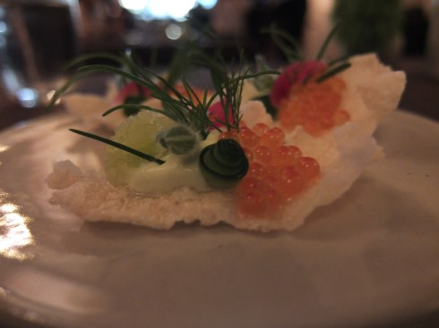 Betony: Marinated Trout Roe on a puffed rice cracker with cucumber