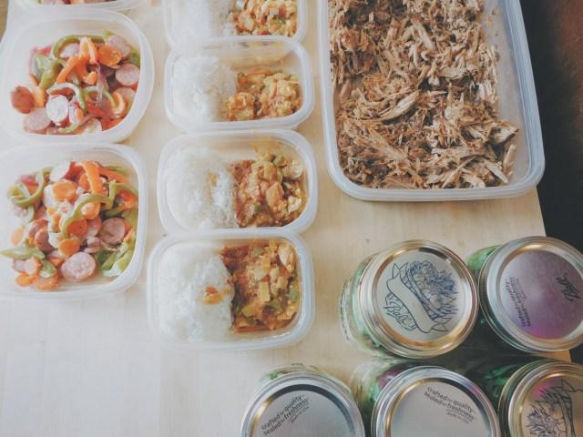 Pulled pork, sausage and veggie stir fry, chicken curry, mason jar salads