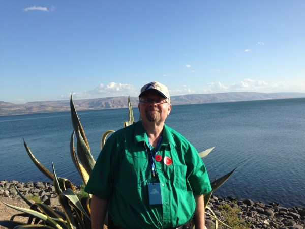 Vinnie Drzewucki and his wife traveled to Israel in 2015. The Sea of Galilee and Golan Heights are in the background.