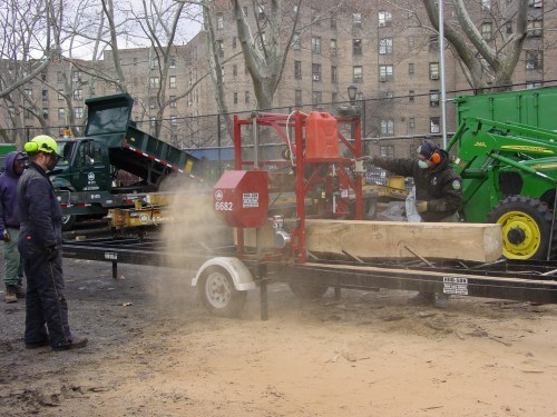 running and training my crew on a new portable saw mill. The first of it's kind in NYC Parks. Acquired to allow us to salvage storm downed timber.My Land Restoration Project Crew with the NYC Parks Dept.