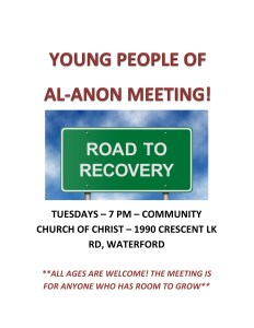 Young People Al-Anon Meeting @ COMMUNITY CHURCH OF CHRIST | Waterford Township | Michigan | United States