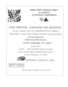 Surviving the Holidays Meeting Maple West Monday Night @ First Presbyterian Church | Birmingham | Michigan | United States
