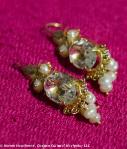 Dangle with pearls, clear crystal, 10k gold filagree, $175.